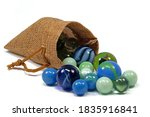 Colorful Glass Balls In A Jute...