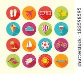 set of summer objects. vector... | Shutterstock .eps vector #183598595