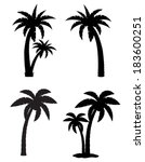 Palm Tropical Tree Set Icons...