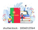 people learning portuguese... | Shutterstock .eps vector #1836013564