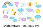weather cartoon set. cute hand... | Shutterstock .eps vector #1836037591