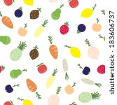 vegetables and fruits seamless... | Shutterstock .eps vector #183606737