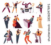 orchestra musicians playing... | Shutterstock .eps vector #1836097891