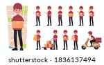 delivery man character... | Shutterstock .eps vector #1836137494