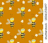 seamless pattern with bees and...   Shutterstock .eps vector #1836153697
