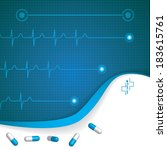 abstract medical cardiology ekg ... | Shutterstock . vector #183615761