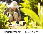 senior woman with gardening... | Shutterstock . vector #183615929