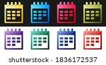 set calendar icon isolated on...