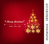 christmas card with star and... | Shutterstock . vector #1836181114