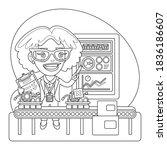 cartoon quality inspector... | Shutterstock .eps vector #1836186607