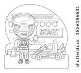 cartoon racer and go kart on... | Shutterstock .eps vector #1836186631