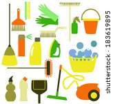 cleaning tools on the white | Shutterstock .eps vector #183619895