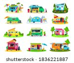 camper trailers  travel house ... | Shutterstock .eps vector #1836221887