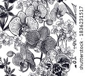 black and white floral seamless ... | Shutterstock .eps vector #1836231517