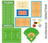 different sports fields set ... | Shutterstock .eps vector #183627344