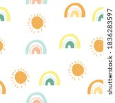 seamless childish pattern with... | Shutterstock .eps vector #1836283597