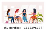 woman therapy. group counseling ... | Shutterstock .eps vector #1836296374