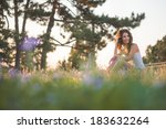 beautiful caucasian girl with... | Shutterstock . vector #183632264