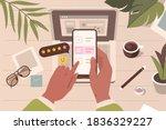 human hands holding smartphone... | Shutterstock .eps vector #1836329227