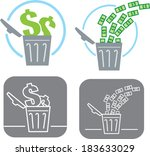 bills,bin,can,dollar,dumping,economy,finances,garbage,icon,money,open,out,save,symbol,throwing
