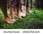 Bare Feet Of Family With Small...