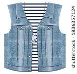 casual denim vest print for... | Shutterstock .eps vector #1836357124