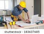 portrait of hard working... | Shutterstock . vector #183637685