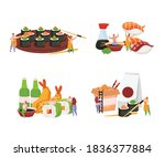 sushi flat colored icon set... | Shutterstock .eps vector #1836377884