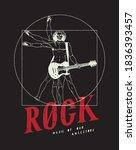 da vinci man playing guitar... | Shutterstock .eps vector #1836393457