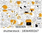 hackathon doodle set....   Shutterstock .eps vector #1836400267