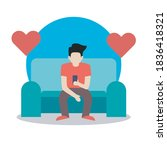 human sit on sofa and playing... | Shutterstock .eps vector #1836418321