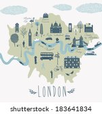 map of london attractions | Shutterstock .eps vector #183641834