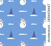 snowman and spruce. winter... | Shutterstock .eps vector #1836426667