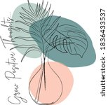 flowers and leaves in vase line ...   Shutterstock .eps vector #1836433537