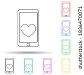 mobile phone with heart multi...