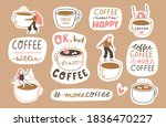 vector coffee sticker pack in... | Shutterstock .eps vector #1836470227