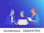 three guys working as a team on ... | Shutterstock .eps vector #1836547591