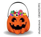 Halloween Pumpkin Bucket With...