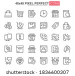 e commerce thin line icon set....