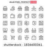 shopping mall thin line icons...