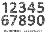 grunge numbers set.vector dirty ... | Shutterstock .eps vector #1836641074