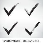 set of grunge yes check marks. | Shutterstock .eps vector #1836642211