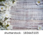 colorful floral frame on rustic ... | Shutterstock . vector #183665105