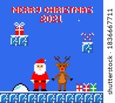 christmas greeting card pixel...   Shutterstock .eps vector #1836667711