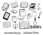 set of books doodles | Shutterstock .eps vector #183667394