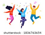 happy group of people jumping...   Shutterstock .eps vector #1836763654