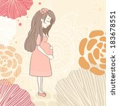 vector pregnant woman on floral ... | Shutterstock .eps vector #183678551
