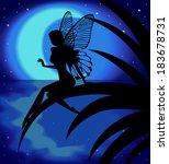 silhouette fairy girl on a... | Shutterstock .eps vector #183678731