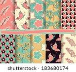 set of  abstract vector paper... | Shutterstock .eps vector #183680174