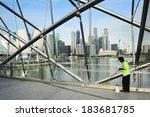 singapore  may 07  2013  worker ... | Shutterstock . vector #183681785